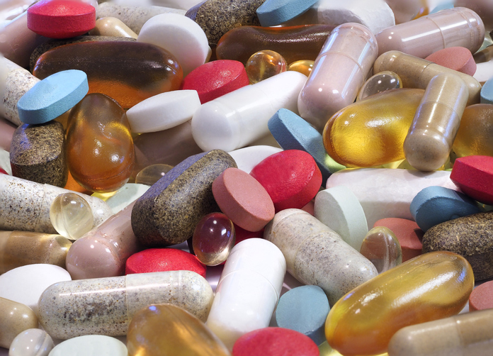 Focus Stacked Image of a Variety of Pills, Capsules and Tablets of Medication